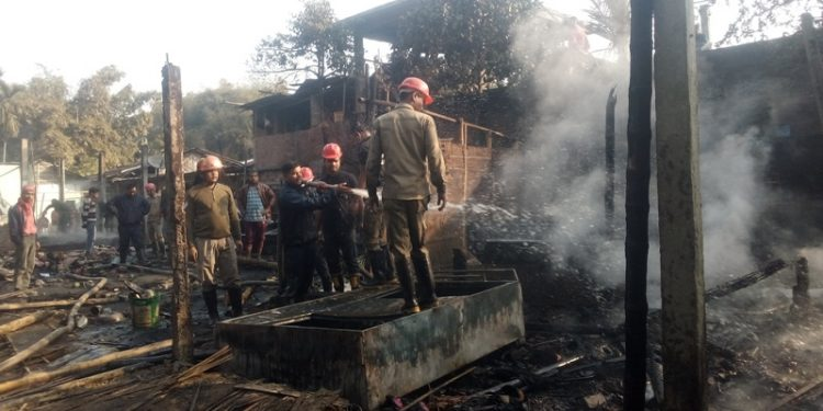 Four fire tenders from Jorhat Fire Station were pressed into service to douse the massive fire.