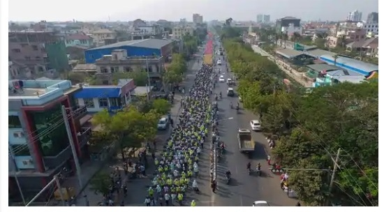 Myanmar protesters injured in police crack down 1