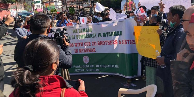 Protest against Myanmar coup
