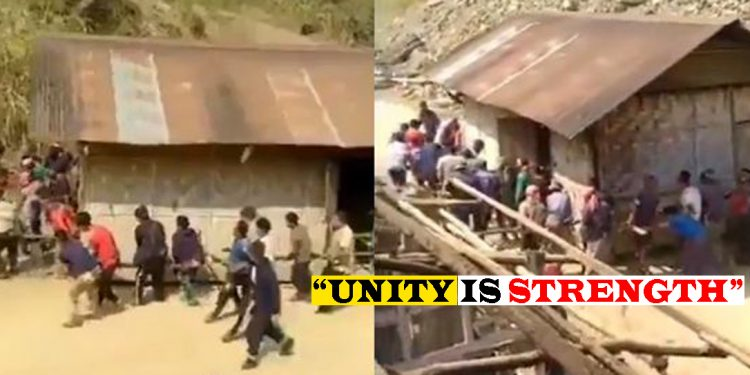 Nagaland: Villagers shift house on foot, video goes viral 1