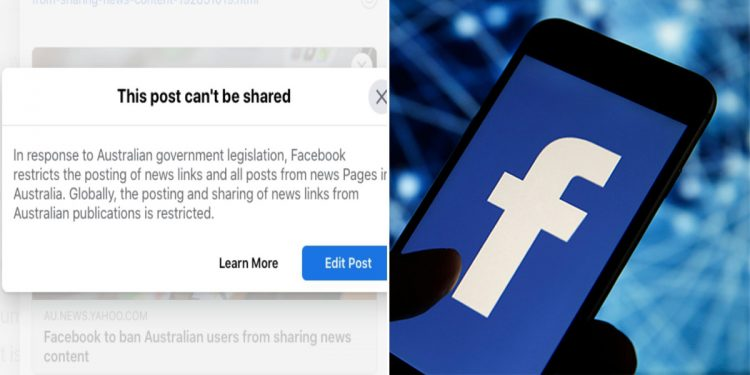 Facebook bans Australian users from viewing, sharing news 1