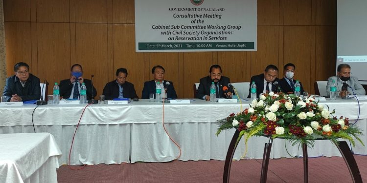 Consultative meeting of Cabinet Sub-Committee Working Group on Reservation in Government Services with civil society organisations in Kohima on Friday.