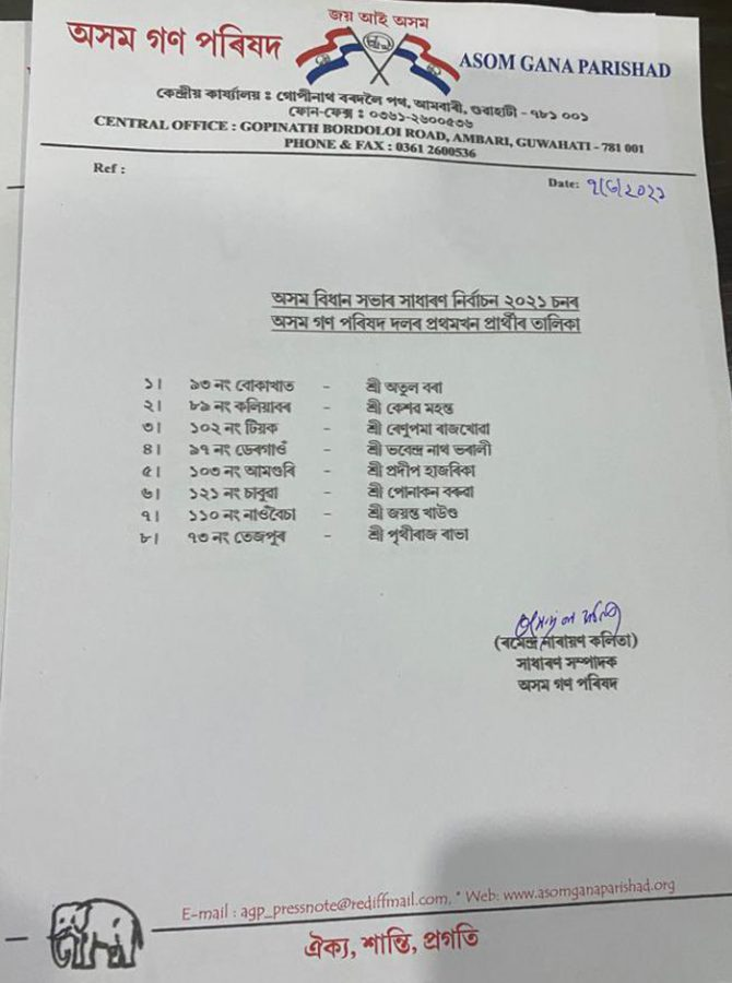 Assam Assembly elections: AGP releases first list of 8 candidates, denies ticket to MLA Brindaban Goswami 1