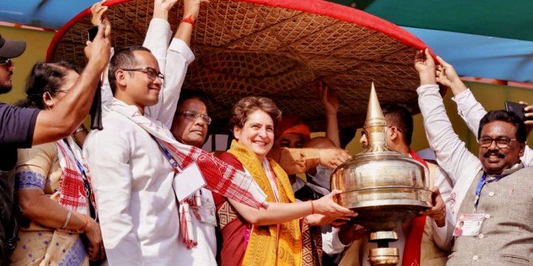 BJP trying to suppress 'Joi Aai Axom', says Priyanka Gandhi in Assam 1