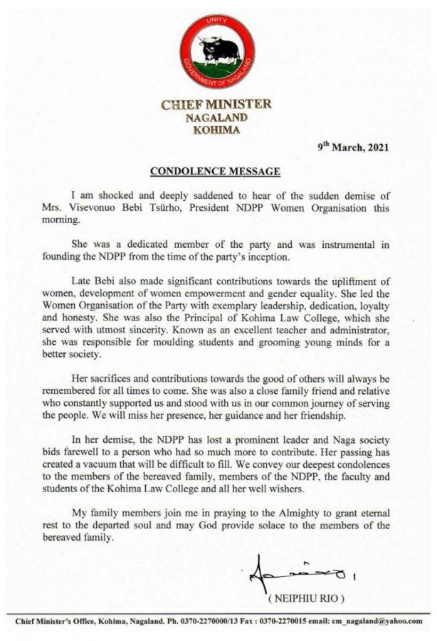 Nagaland: NDPP women wing president Visevonuo Bibe Tsurho passes away 2