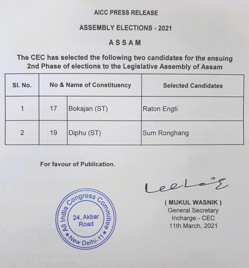 Assam Congress announces candidates for 2 more seats for Assembly elections 1