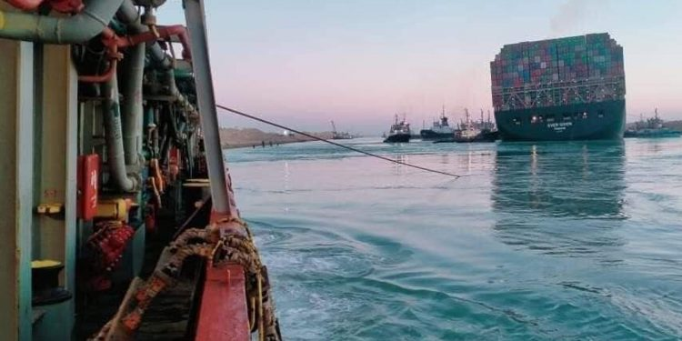 Stranded for a week in Suez Canal, container ship Evergreen finally 'refloated' 1