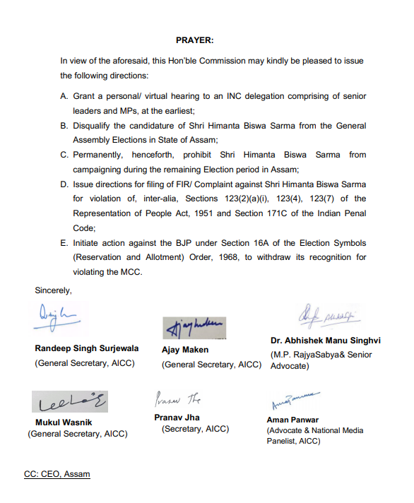 File FIR against Assam Minister Himanta Biswa Sarma for 'threatening' Hagrama Mohilary: Congress writes to Election Commission 3
