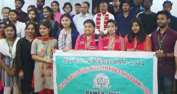 Jadav Payeng along with Agriculture students at Dhemaji college .