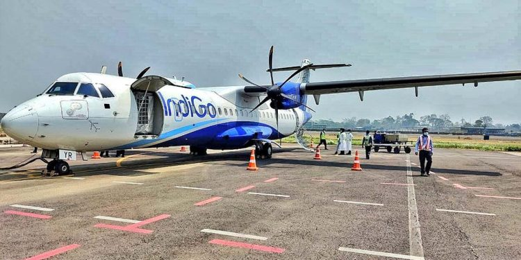Indigo flight at Silchar Airport