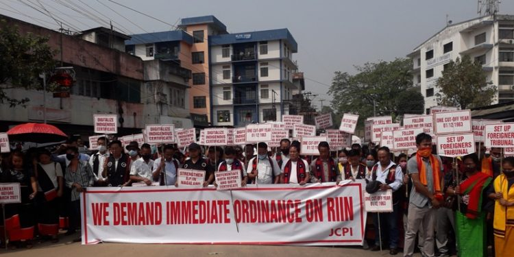 Memebers of civil society organisations at the rally in Dimapur on Friday. Photo Bhadra Gogoi