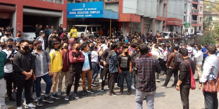 Hundreds of students led by Mizoram's influential student body Mizo Students' Union (MSU) on Tuesday gheraoed state higher and technical education department.