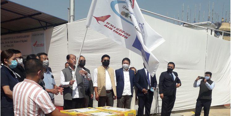 Nagaland chief minister Neiphiu Rio flags off air cargo services at Dimapur airport on Tuesday. (Photo Bhadra Gogoi)