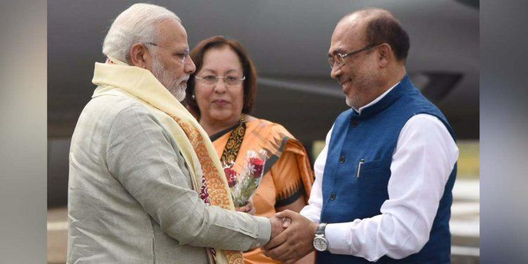Narendra Modi with Manipur CM N Biren Singh