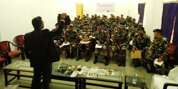 A view of the workshop organised by  the Wildlife Crime Control Bureau (WCCB) and Aaranyak at Dirak.
