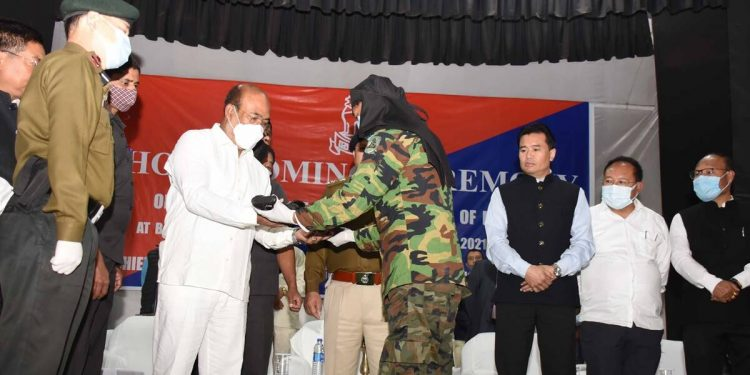 """They surrendered before Manipur chief minister N. Biren Singh in a """"Homecoming Ceremony"""" organised at the banquet hall of 1st Manipur Rifles Battalion in Imphal."""