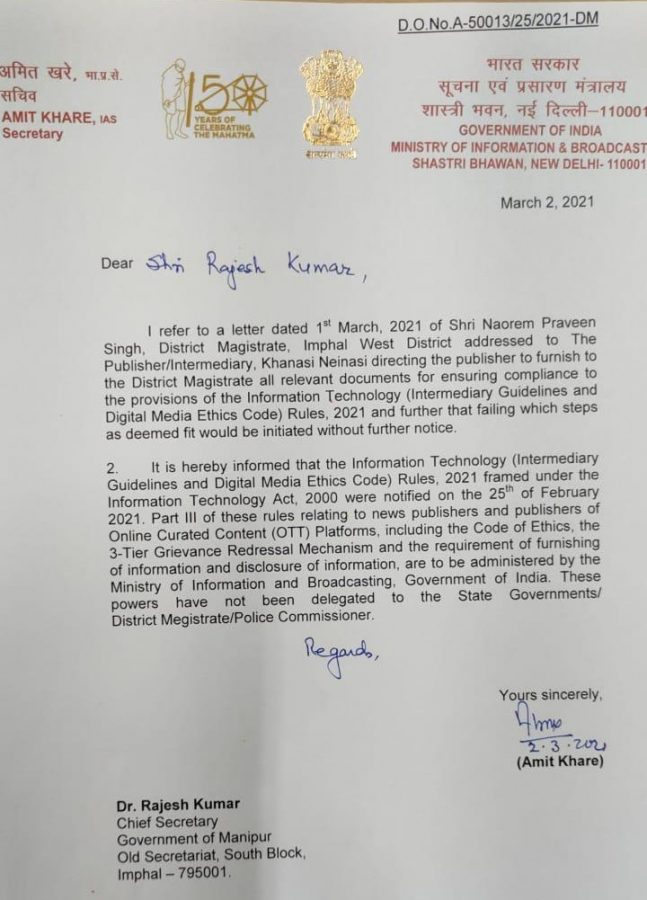 Not for State Governments to act on new digital media rules: I&B Ministry warns Manipur Government 5