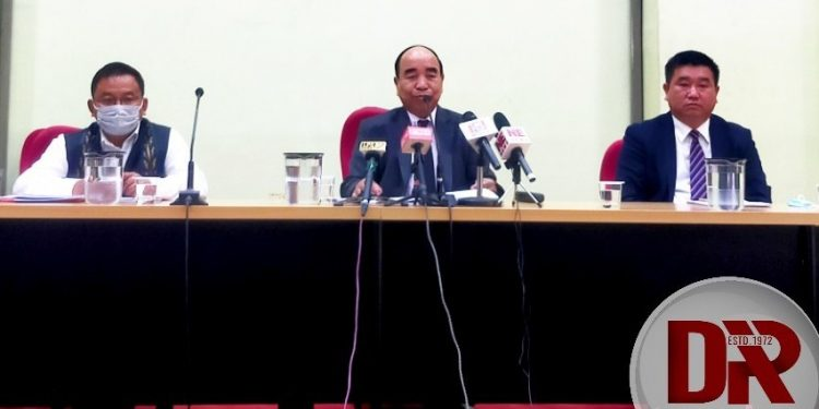 CM Zoramthanga addresses press conference after presenting annual budget.