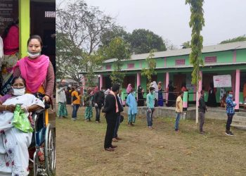 View of polling stations in the second phase of the Assam Assembly election 2021.
