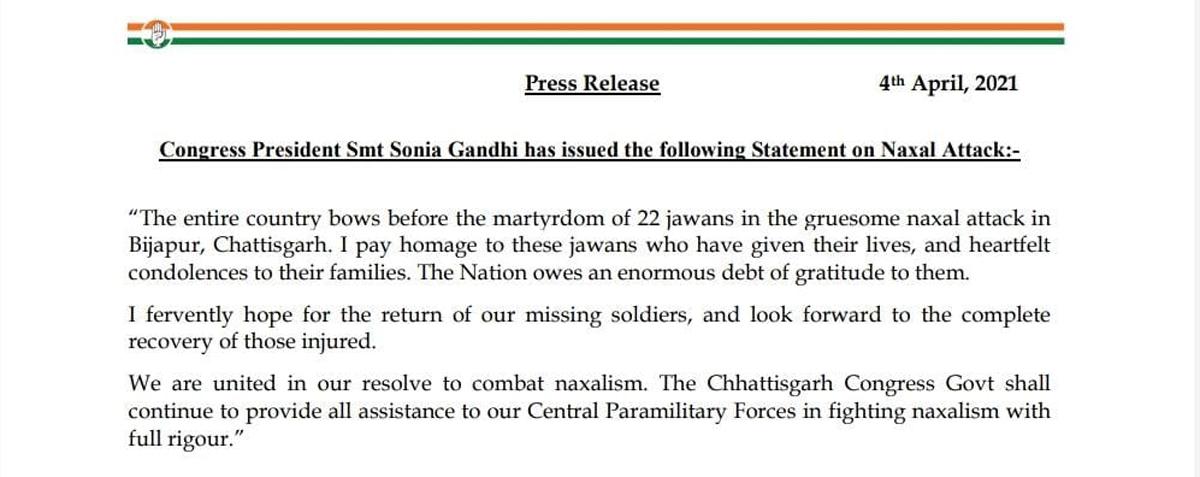 Chhattisgarh Naxal encounter: United to combat naxalism with full vigour, says Congress president Sonia Gandhi 5