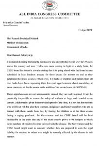 Congress leader Rahul Gandhi urges Centre to reconsider holding CBSE Exams; Priyanka writes to Education Minister 2
