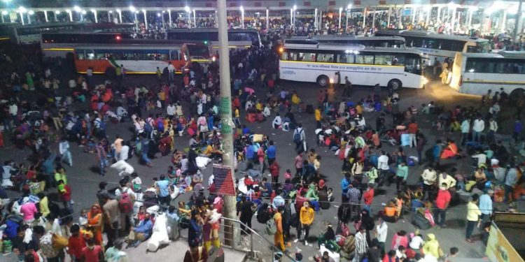 Anand Vihar Bus Terminal in Delhi as on Monday night.