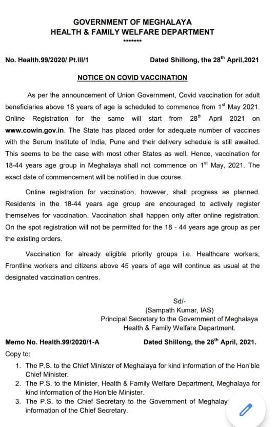 Vaccination for 18-44 years age group in Meghalaya shall not commence on May 1, informs State Government 1