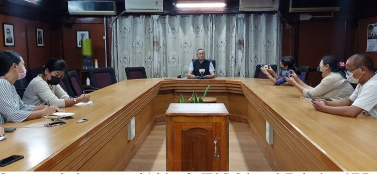 Nagaland government spokesperson Mmhonlumo Kikon addressing the media at Chief Secretary's conference hall in Kohima on Tuesday.