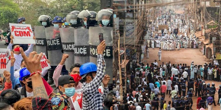 Protests in Myanmar and Bangladesh