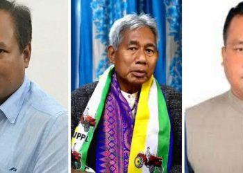 In photo: Paneri BJP candidate - Biswajit Daimary, Udalguri UPPL candidate - Gobindo Basumatary, Mazbat BPF candidate - Charan Boro. (from left)