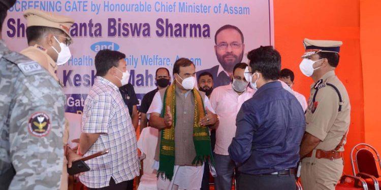 Assam CM Himanta Biswa Sarma at Srirampur gate