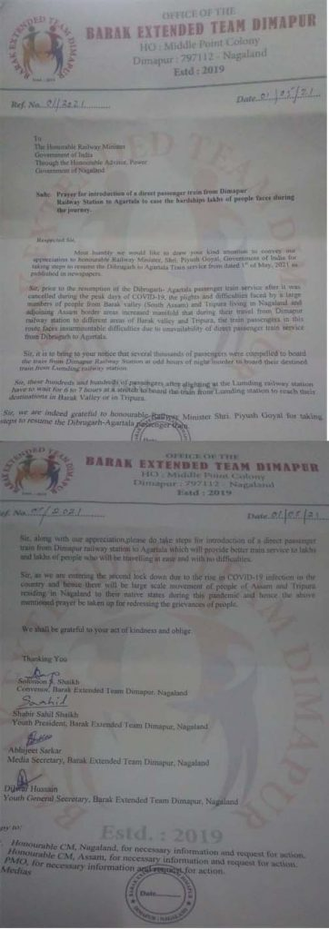 Demand for introduction of direct passenger train from Dimapur railway station to Agartala 4