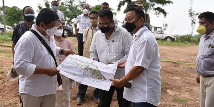 Inspecting the ongoing construction of the State University, the chief minister expressed satisfaction with the progress of the works.