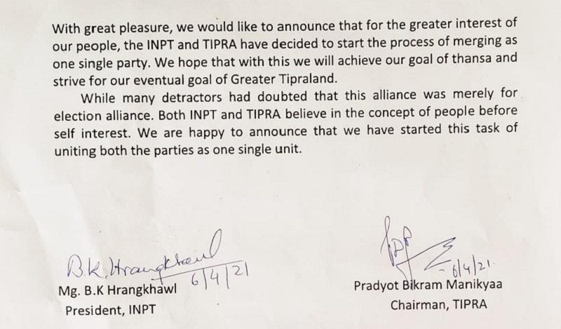 Tripura: INPT merges with Pradyot Deb Barman's TIPRA 5