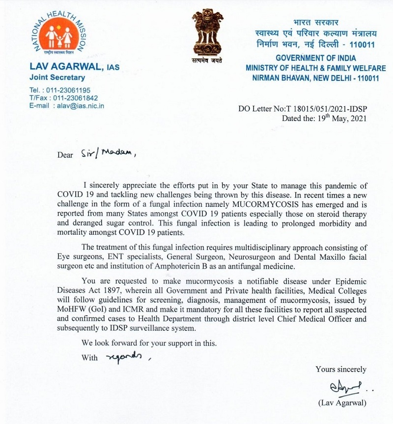 Union Health Ministry writes to State Governments to make black fungus 'notifiable' disease 2