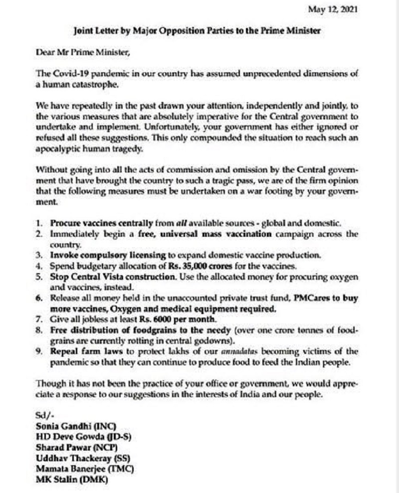 Ask your Ministers to work, not troll: 12 opposition parties write to PM Narendra Modi, demand free mass vaccination 2