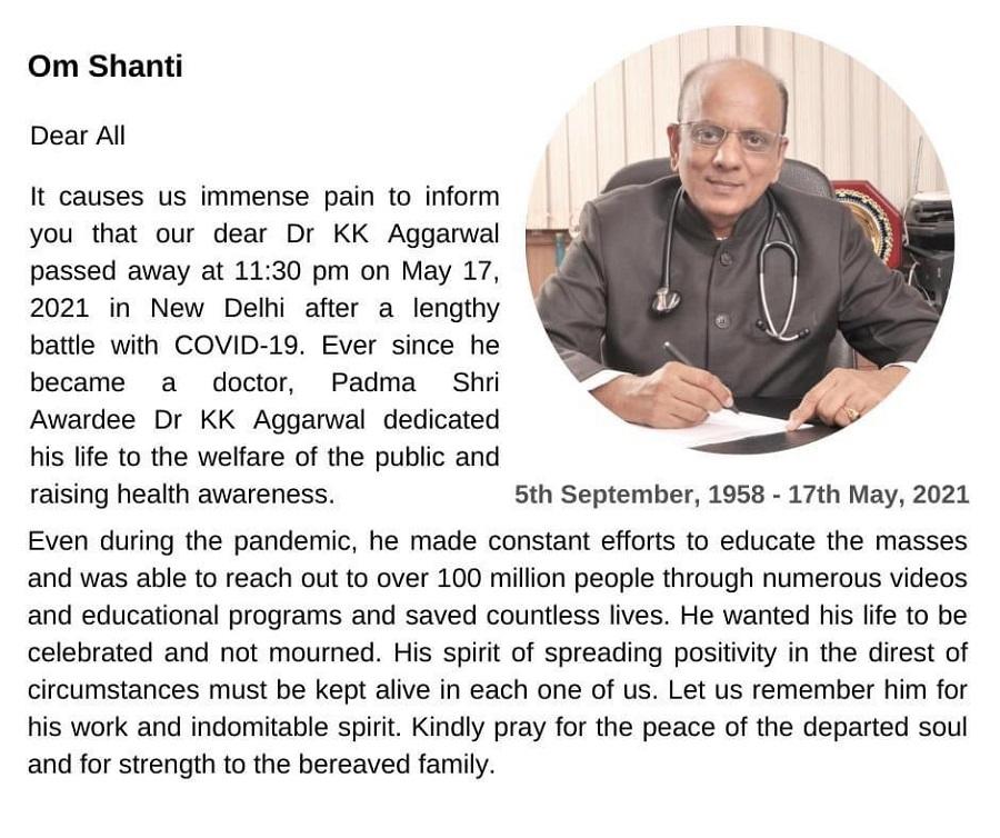 Padma Shri awardee and former IMA president Dr KK Aggarwal dies of COVID-19 3