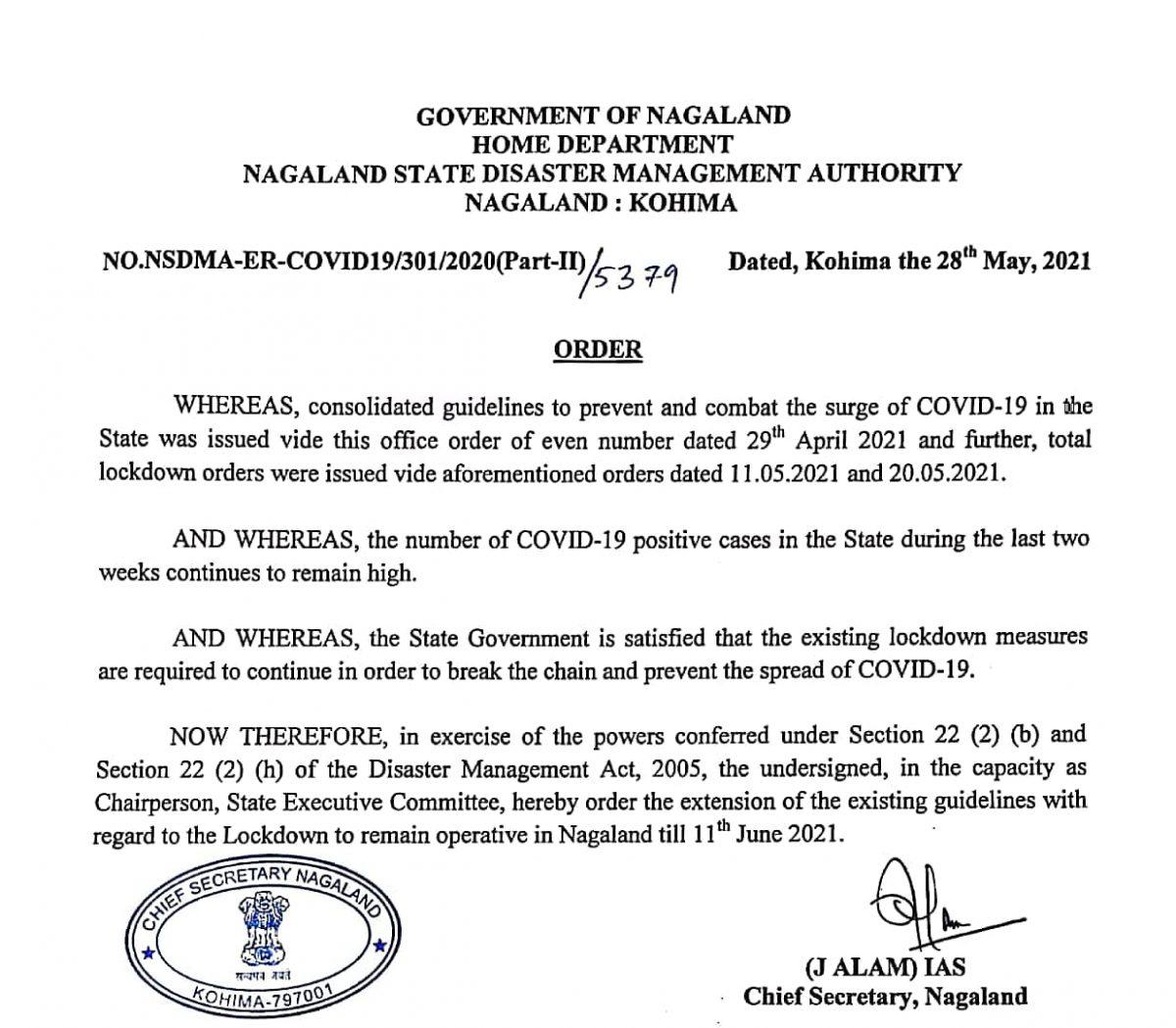 Lockdown extended in Nagaland till June 11 5