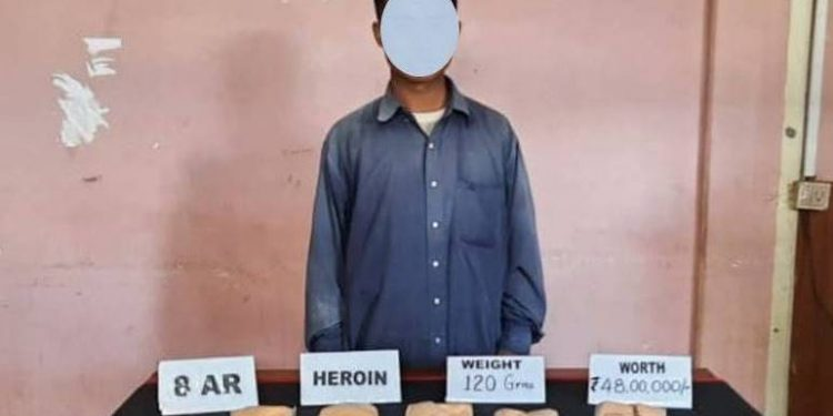 The troops of Assam Rifles have nabbed a Myanmar national with 120 grams of heroin from the NgurIn area in Mizoram.