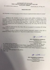 Newly-recruited COVID19 doctors denied salaries? Nagaland health department issues clarification 2