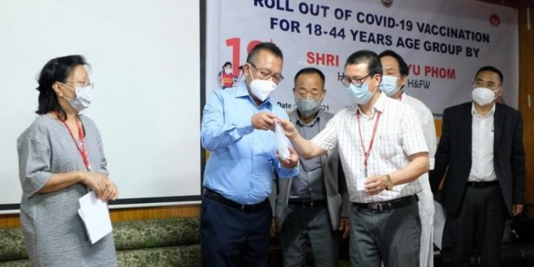 Nagaland Health and Family Welfare Minister S Pangnyu Phom lauching Covid vaccine for 18-44 age groups on Monday.