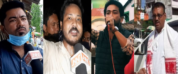 Four activists belonging to different organizations were apprehended by police during a midnight raid on Monday in Sivasagar district.