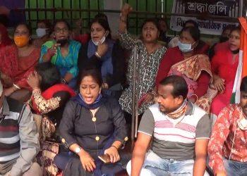 File image: Terminated Tripura teachers protesting.