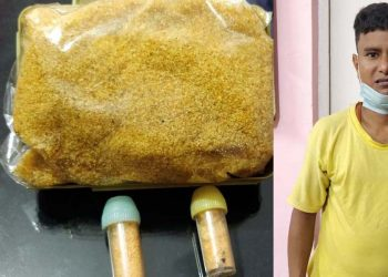 The brown sugar seized and the person arrested by Darrang Police. Image credit - Northeast Now