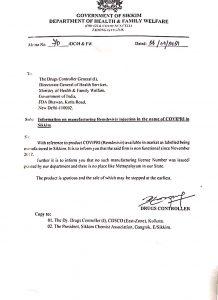 "Fake Remdesivir injection: Sikkim denies presence of ""Covipri"" injection manufacturer 5"
