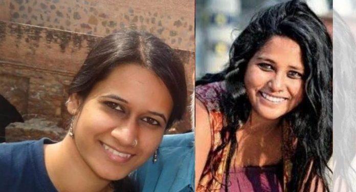 Devangana Kalita and Natasha Narwal walk out of Tihar jail 1