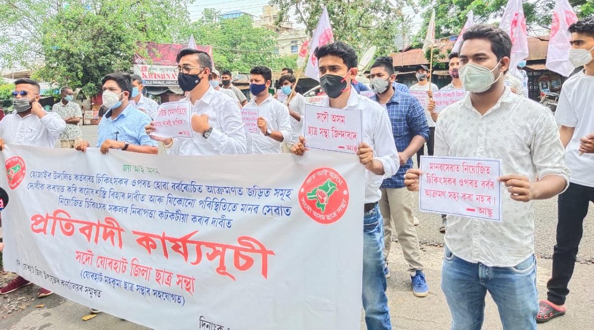 Assam: Junior doctors of Jorhat Medical College and Hospital protest against assault on Hojai doctor 5