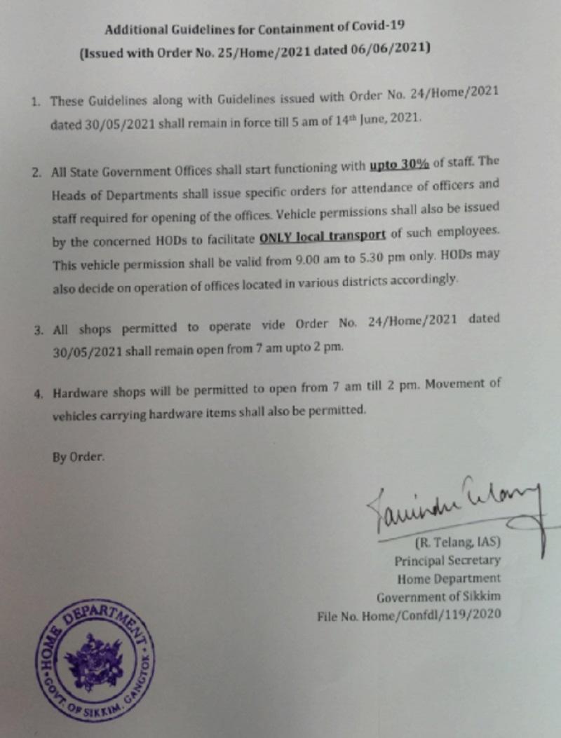 Lockdown in Sikkim extended till June 14, relaxations announced 2