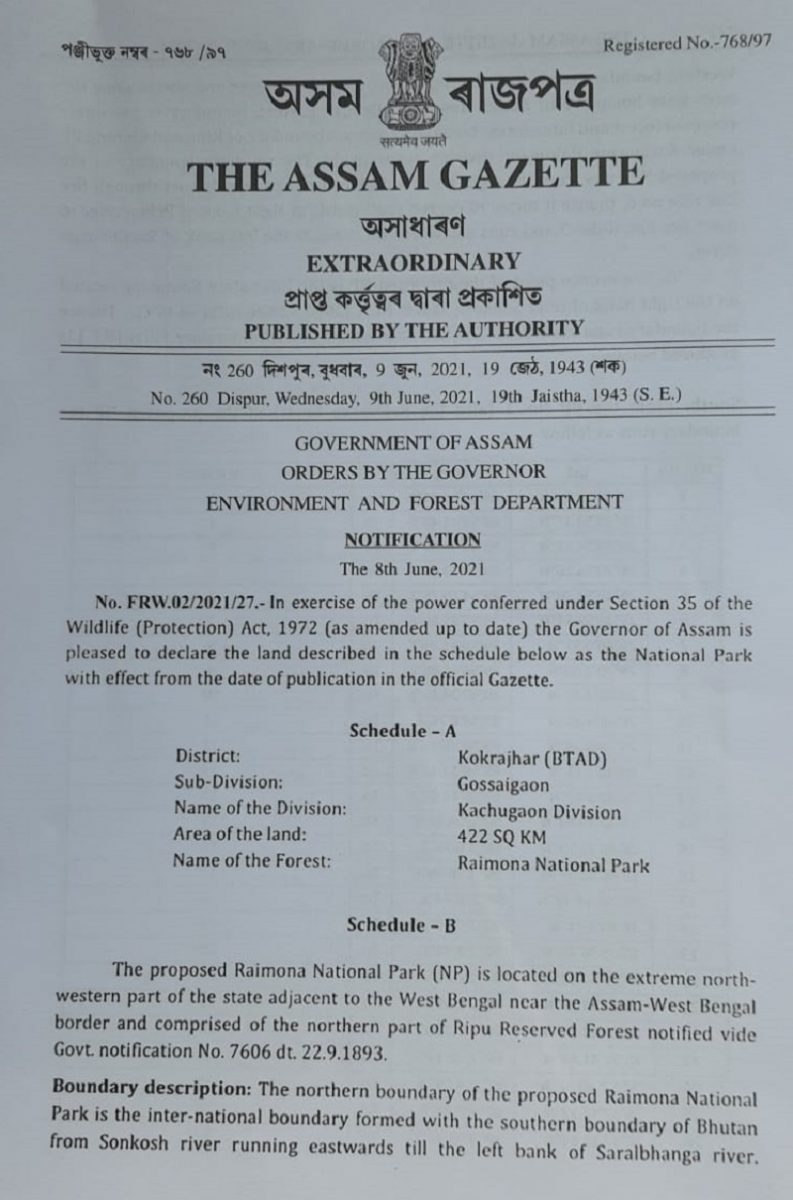 It's official now: Raimona and Dihing Patkai notified as National Parks in Assam 2