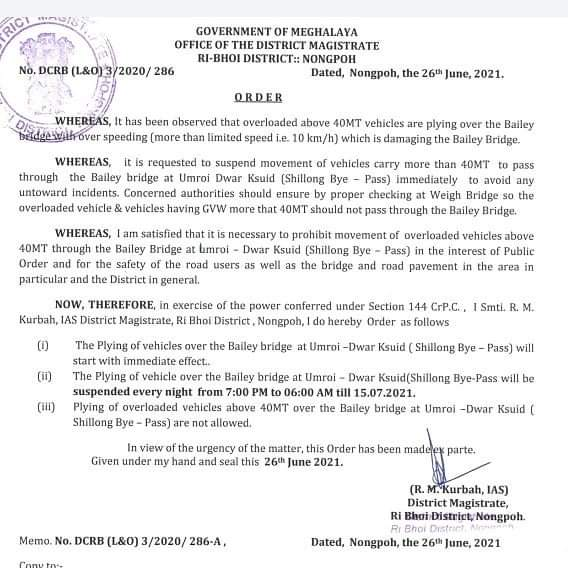 Meghalaya: Plying of vehicles over Bailey bridge at Umroi-Dwar Ksuid to be suspended every night till July 15 4